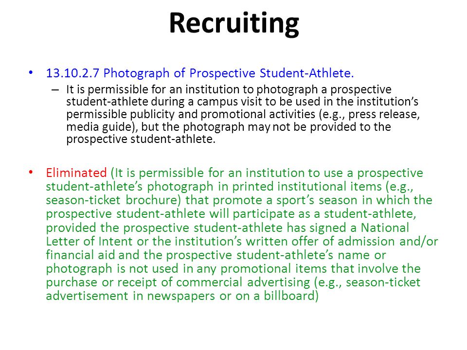 Recruiting Photograph of Prospective Student-Athlete.