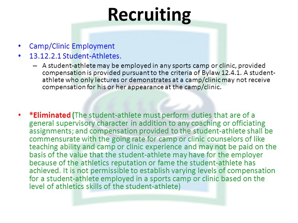 Recruiting Camp/Clinic Employment Student-Athletes.