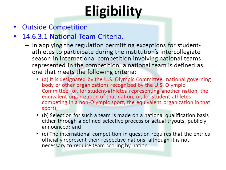 Eligibility Outside Competition National-Team Criteria.