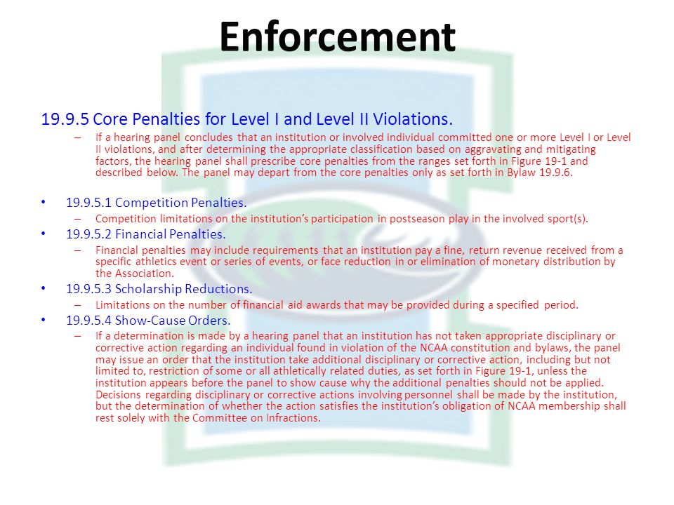 Enforcement Core Penalties for Level I and Level II Violations.