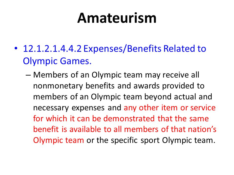 Amateurism Expenses/Benefits Related to Olympic Games.
