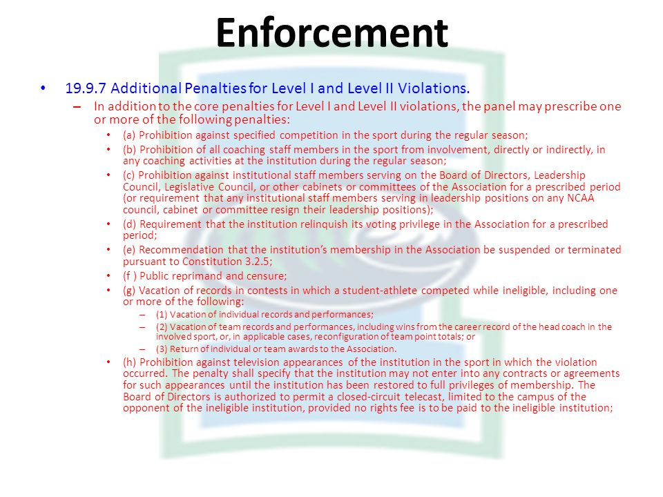 Enforcement Additional Penalties for Level I and Level II Violations.
