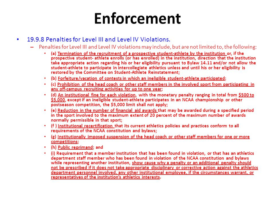 Enforcement Penalties for Level III and Level IV Violations.