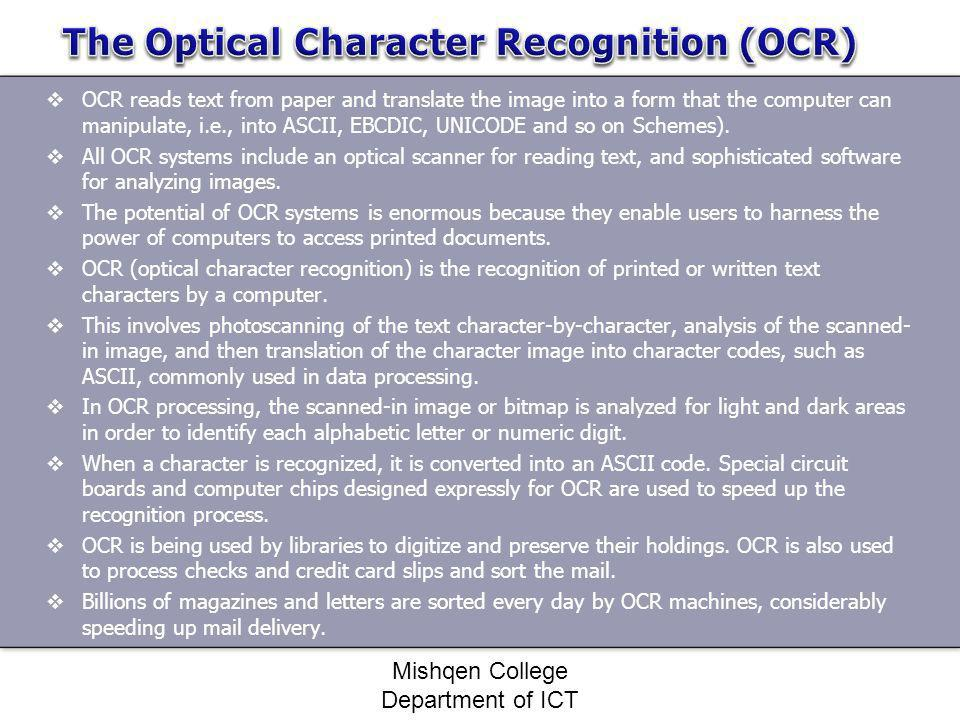 The Optical Character Recognition (OCR)