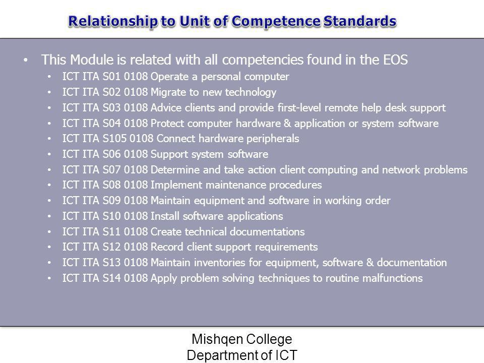 Relationship to Unit of Competence Standards