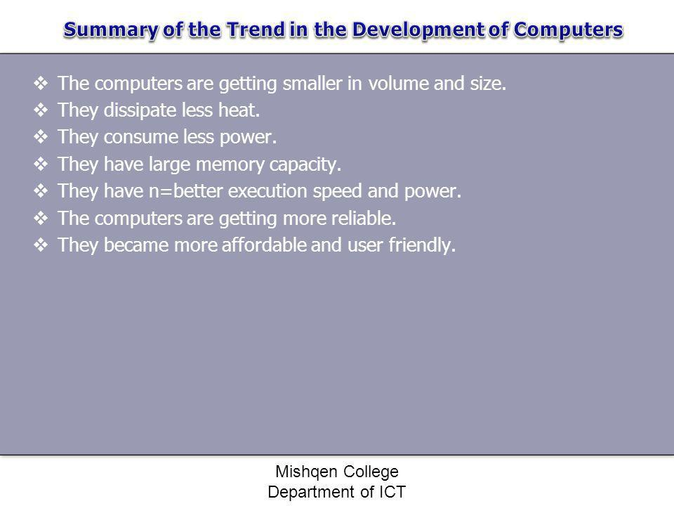Summary of the Trend in the Development of Computers