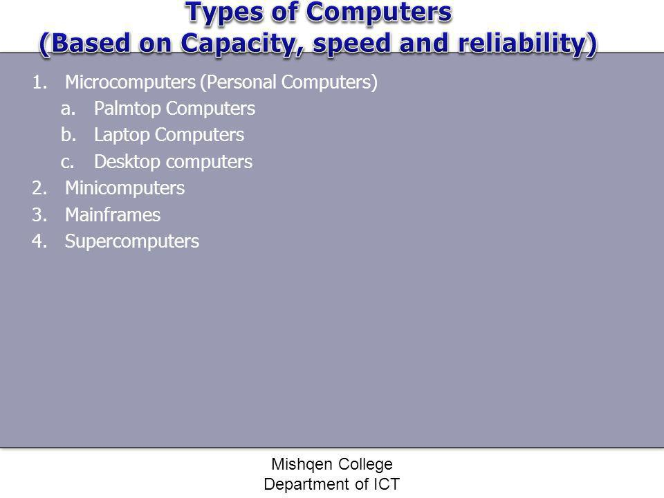Types of Computers (Based on Capacity, speed and reliability)