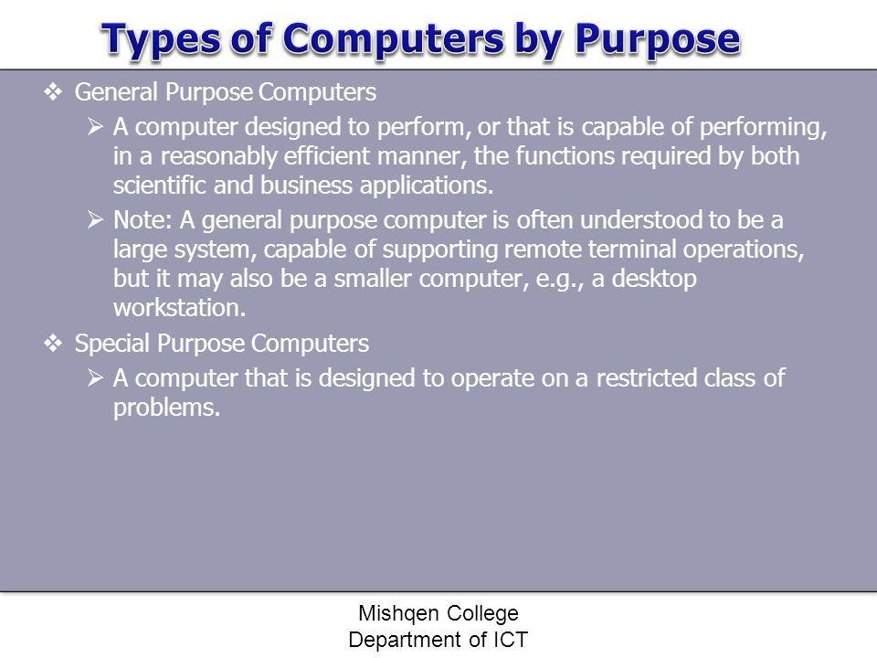 Types of Computers by Purpose