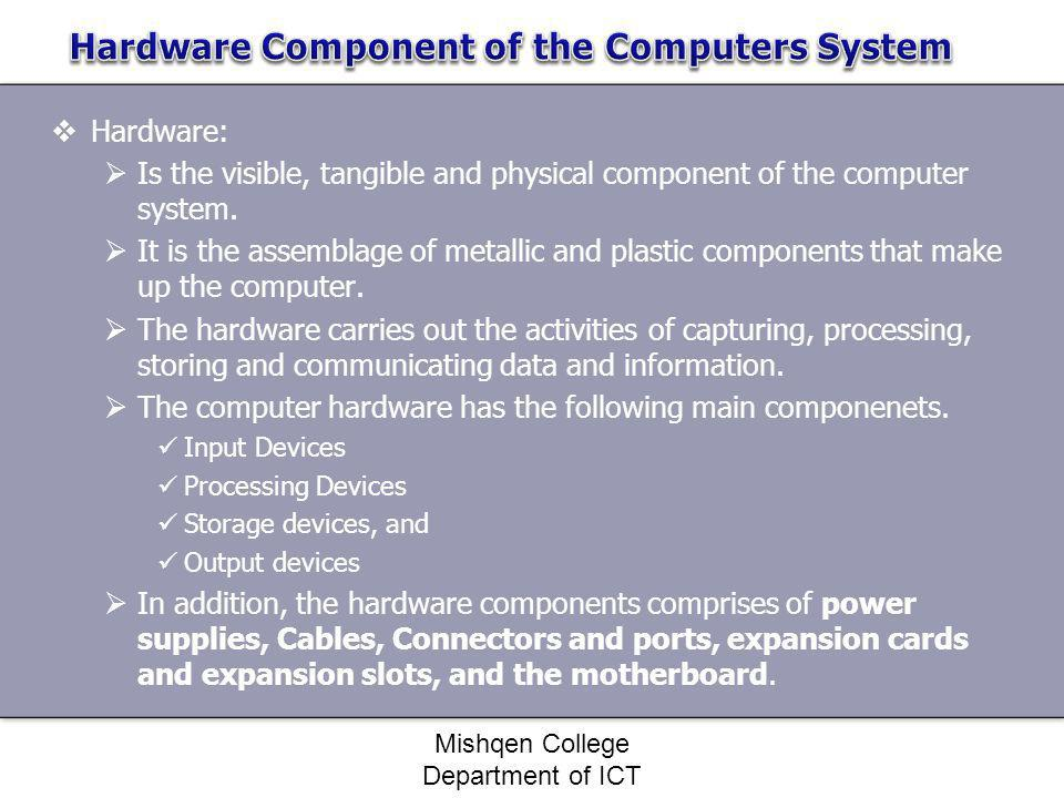 Hardware Component of the Computers System