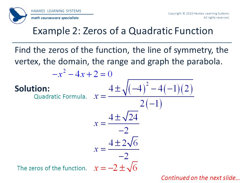 Example 2: Zeros of a Quadratic Function