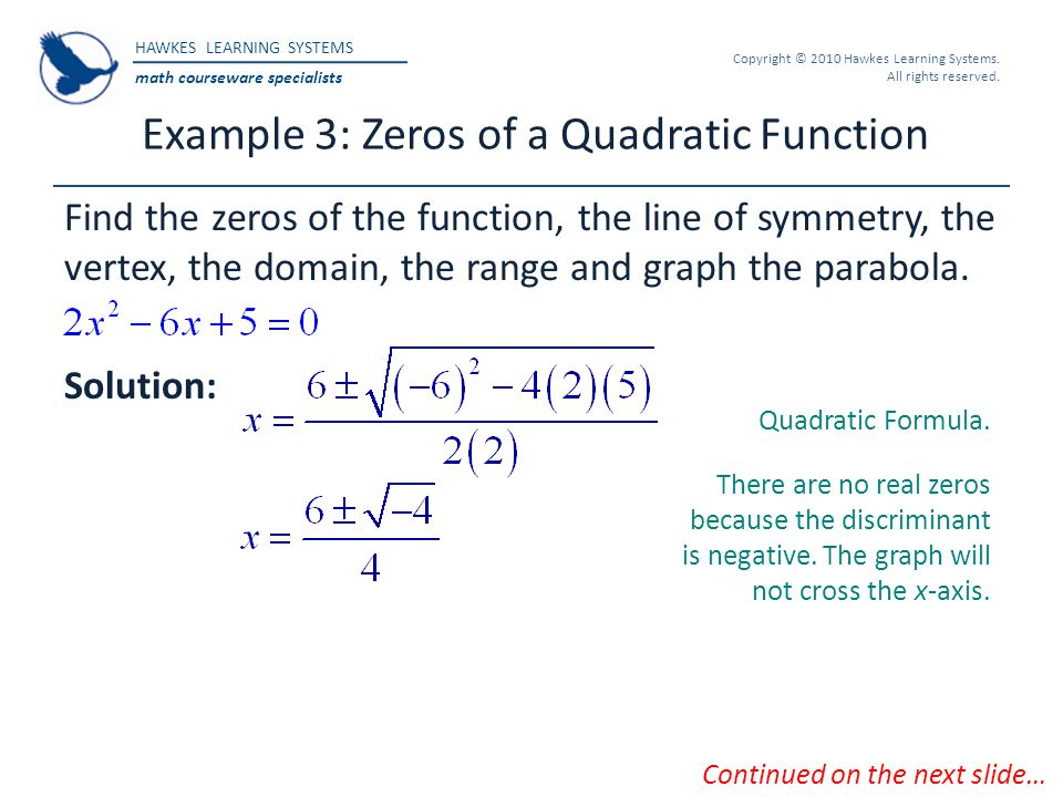 Example 3: Zeros of a Quadratic Function