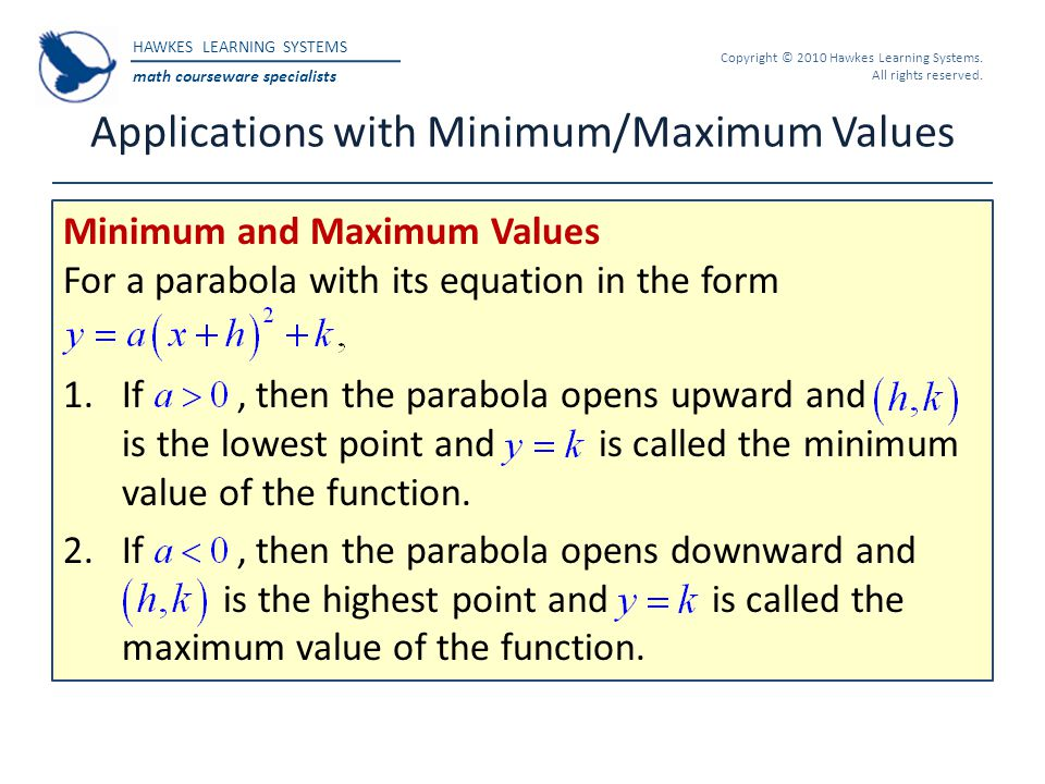 Applications with Minimum/Maximum Values