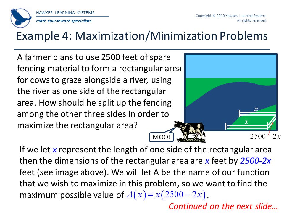 Example 4: Maximization/Minimization Problems