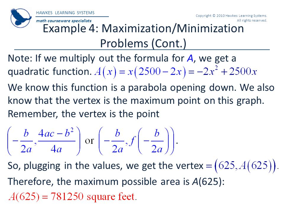 Example 4: Maximization/Minimization Problems (Cont.)