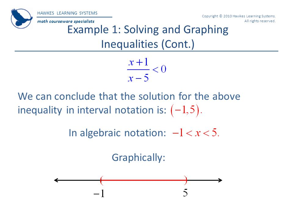 Example 1: Solving and Graphing Inequalities (Cont.)