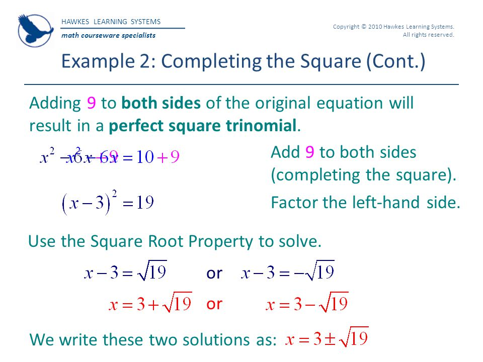 Example 2: Completing the Square (Cont.)