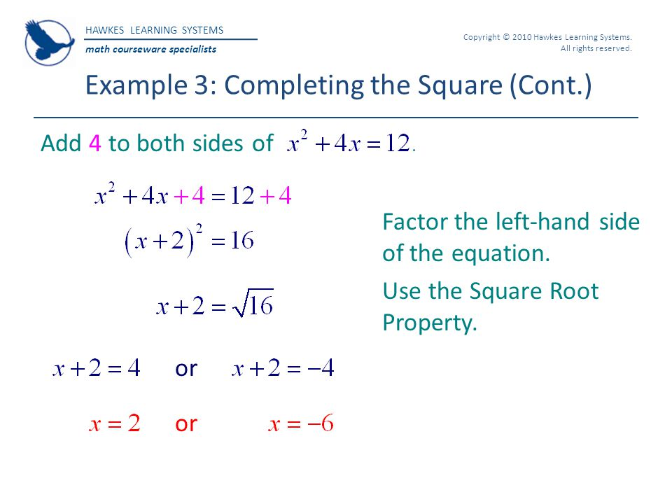 Example 3: Completing the Square (Cont.)