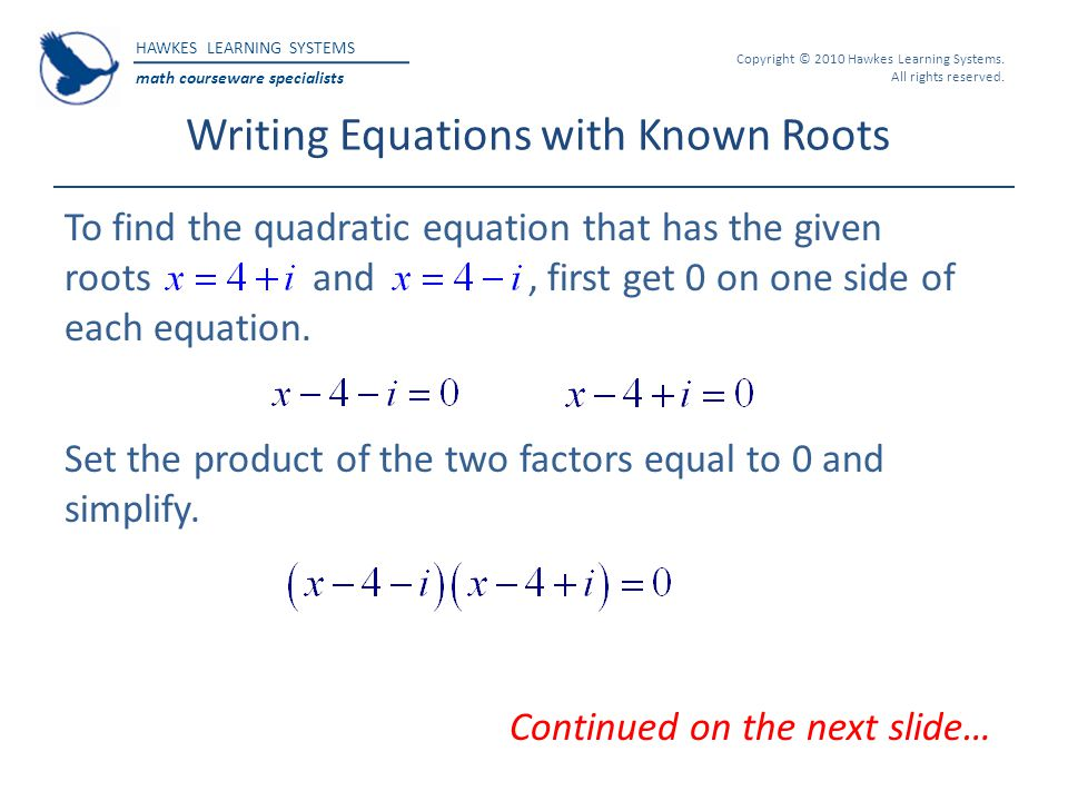 Writing Equations with Known Roots