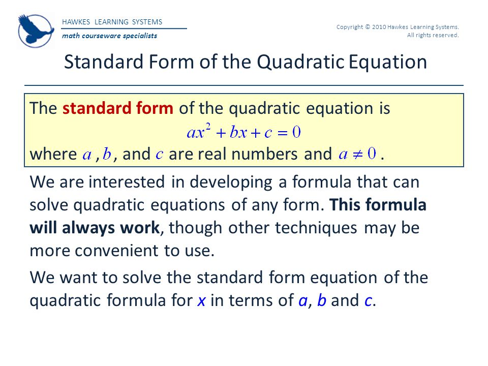 Standard Form of the Quadratic Equation