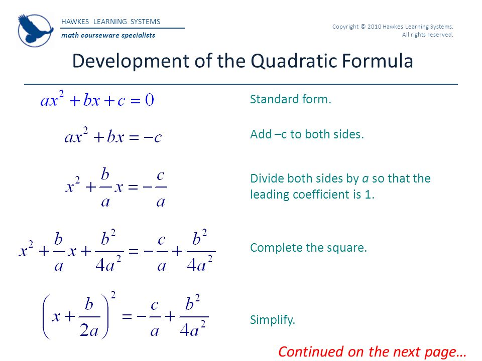 Development of the Quadratic Formula