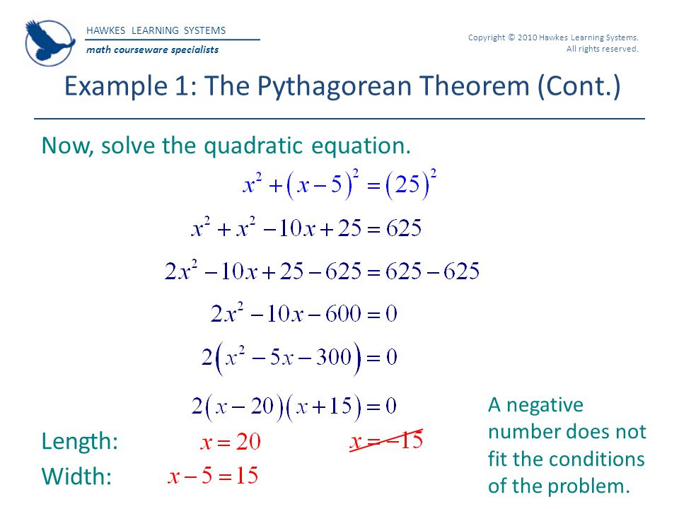 Example 1: The Pythagorean Theorem (Cont.)