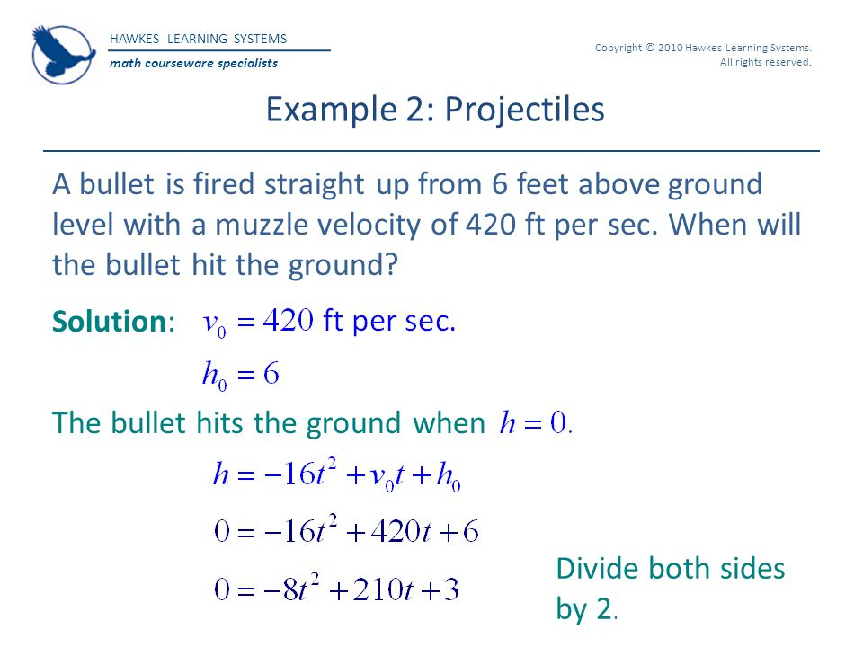 Example 2: Projectiles