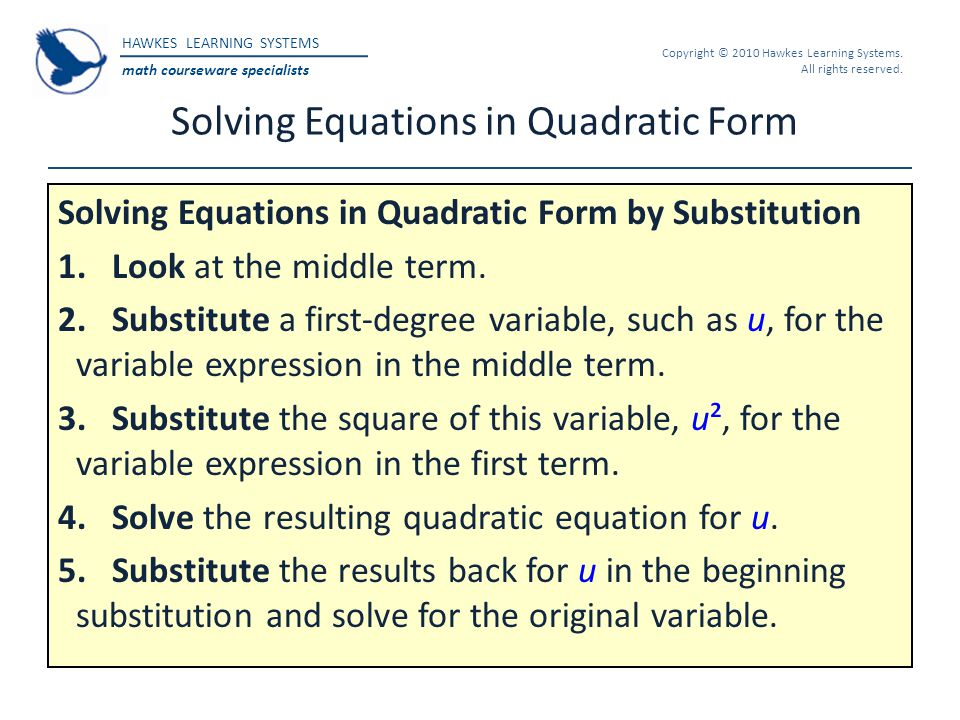 Solving Equations in Quadratic Form