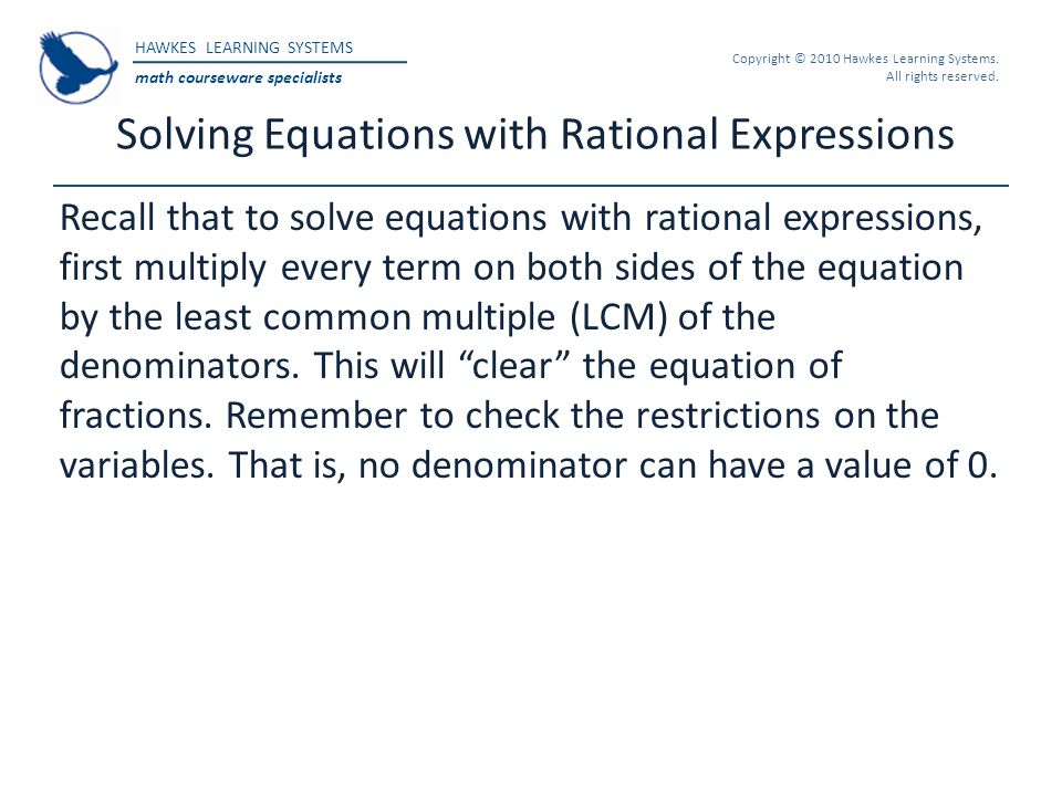 Solving Equations with Rational Expressions