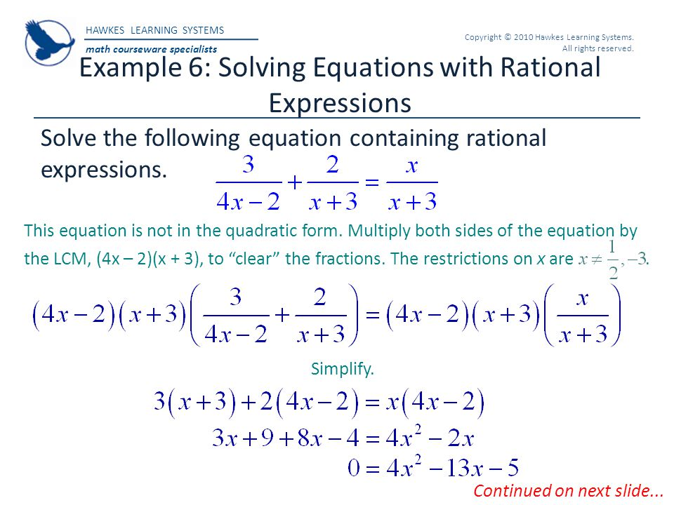 Example 6: Solving Equations with Rational Expressions