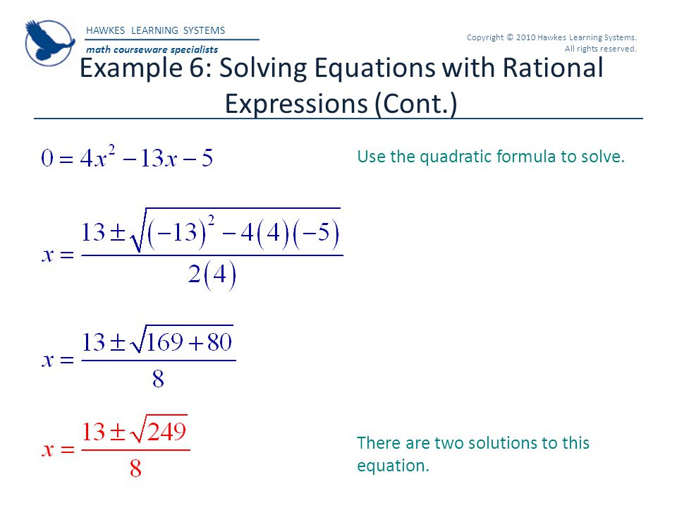 Example 6: Solving Equations with Rational Expressions (Cont.)