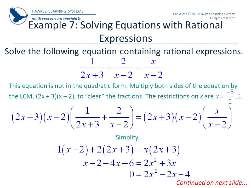 Example 7: Solving Equations with Rational Expressions