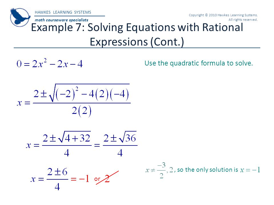 Example 7: Solving Equations with Rational Expressions (Cont.)