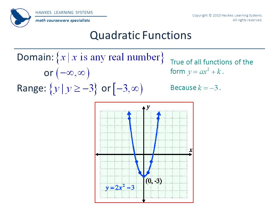 Quadratic Functions Domain: or Range: or