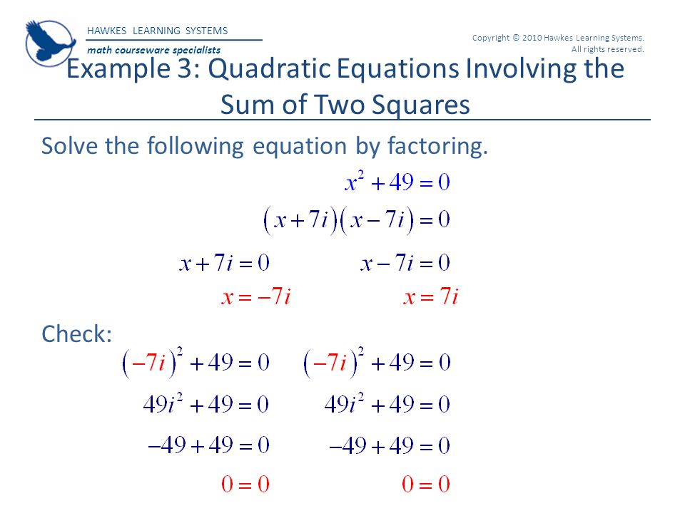 Example 3: Quadratic Equations Involving the Sum of Two Squares
