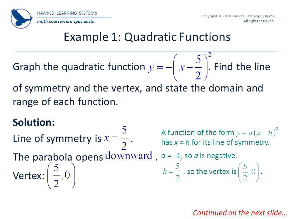 Example 1: Quadratic Functions