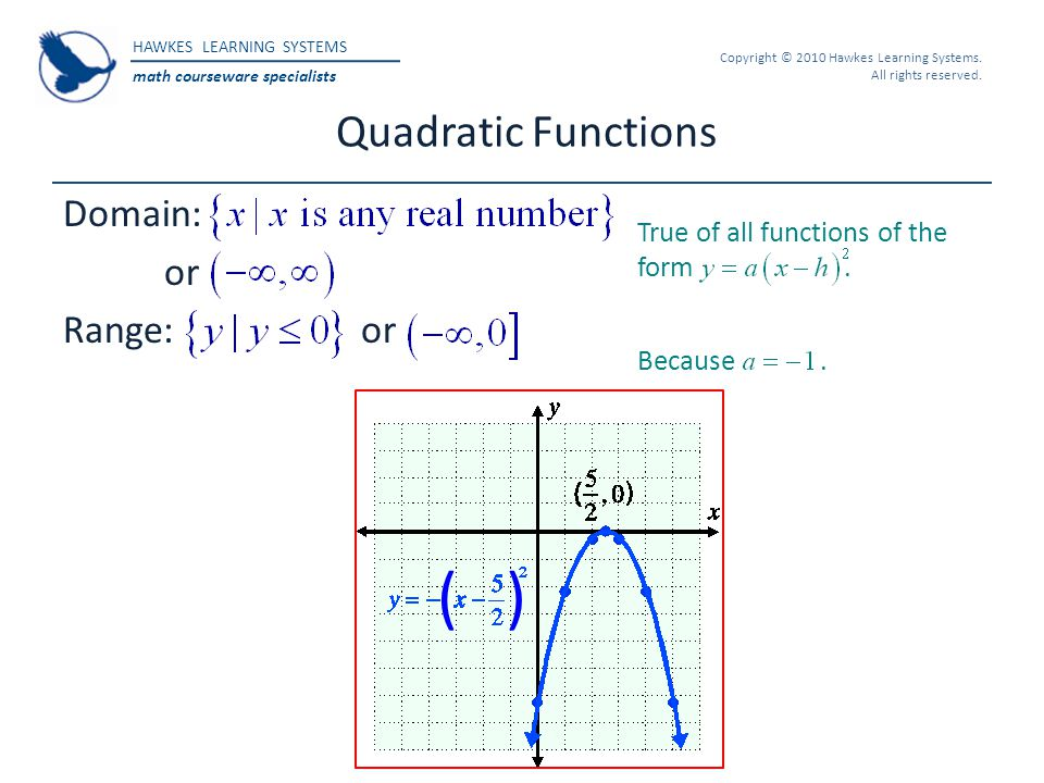 ( ) Quadratic Functions Domain: or Range: or