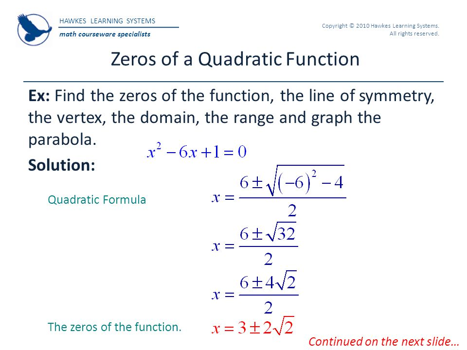 Zeros of a Quadratic Function