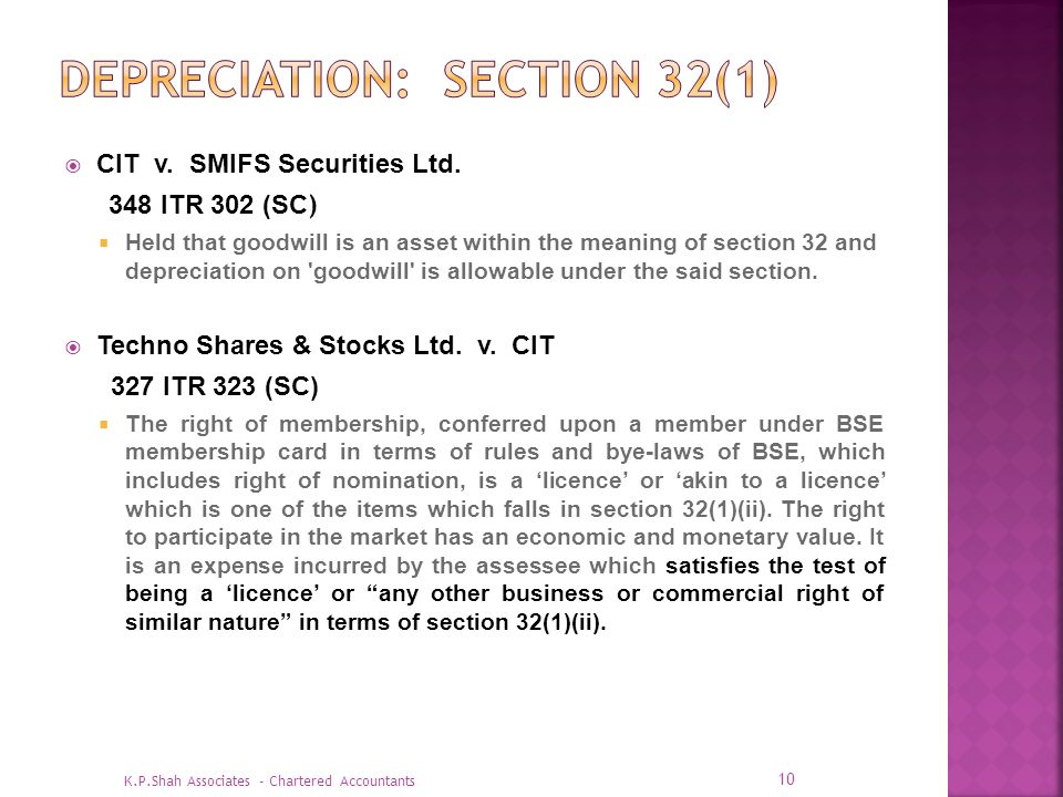 Depreciation: Section 32(1)