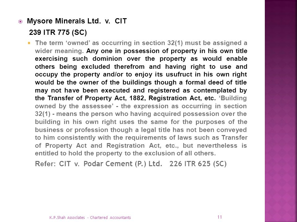 Mysore Minerals Ltd. v. CIT 239 ITR 775 (SC)