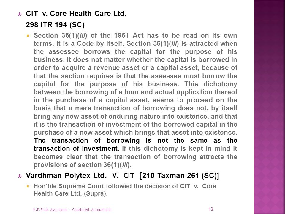 CIT v. Core Health Care Ltd. 298 ITR 194 (SC)