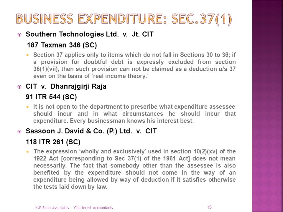 Business EXPENDITURE: SEC.37(1)