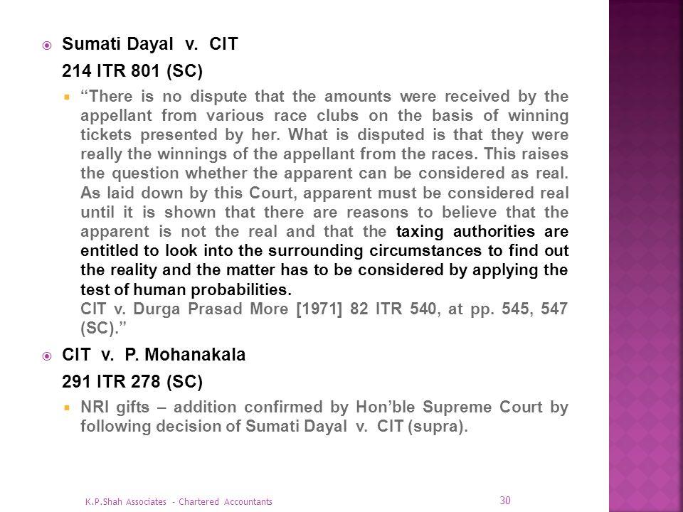 Sumati Dayal v. CIT 214 ITR 801 (SC) CIT v. P. Mohanakala