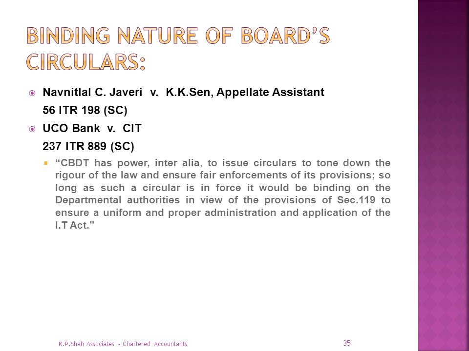 BINDING NATURE OF BOARD'S CIRCULARS: