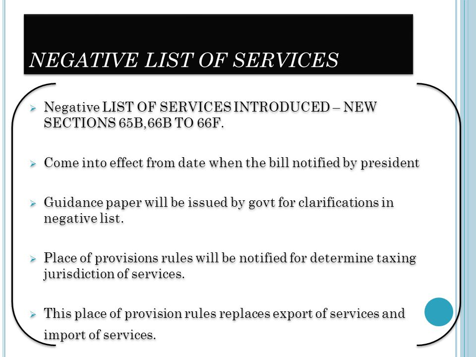 NEGATIVE LIST OF SERVICES