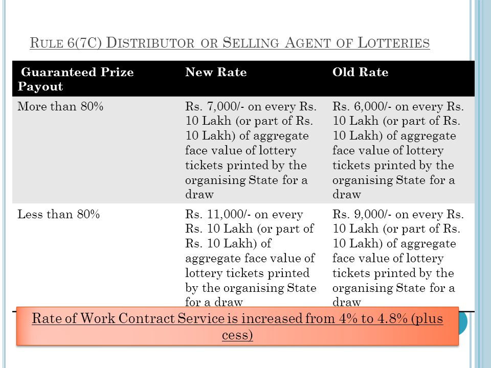 Rule 6(7C) Distributor or Selling Agent of Lotteries