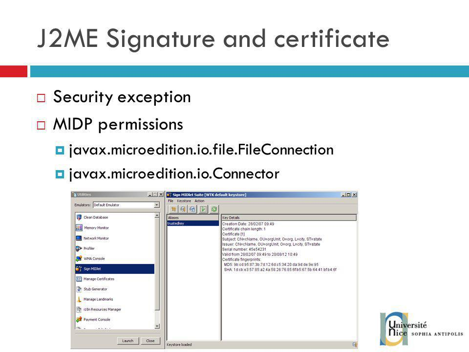 J2ME Signature and certificate