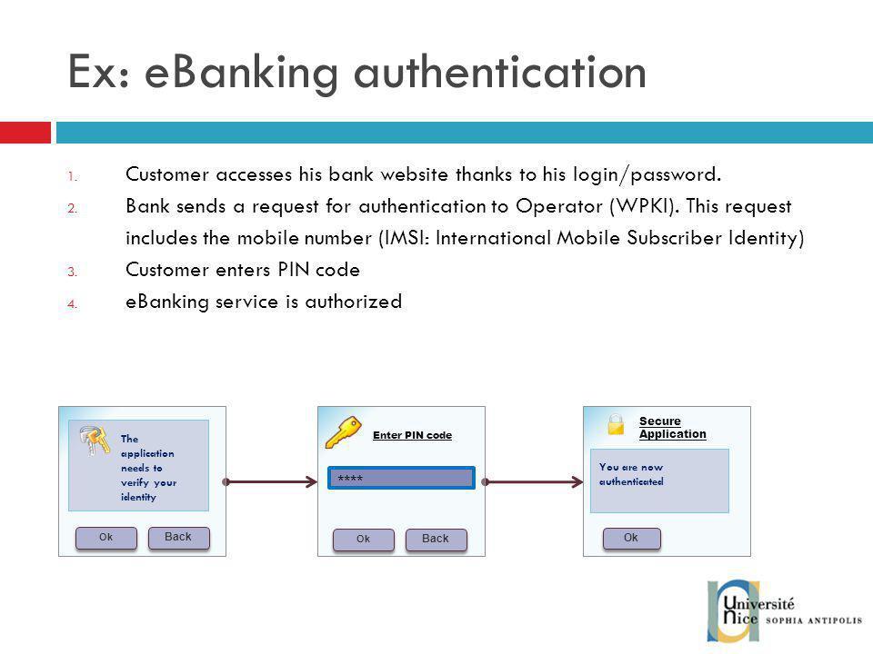 Ex: eBanking authentication