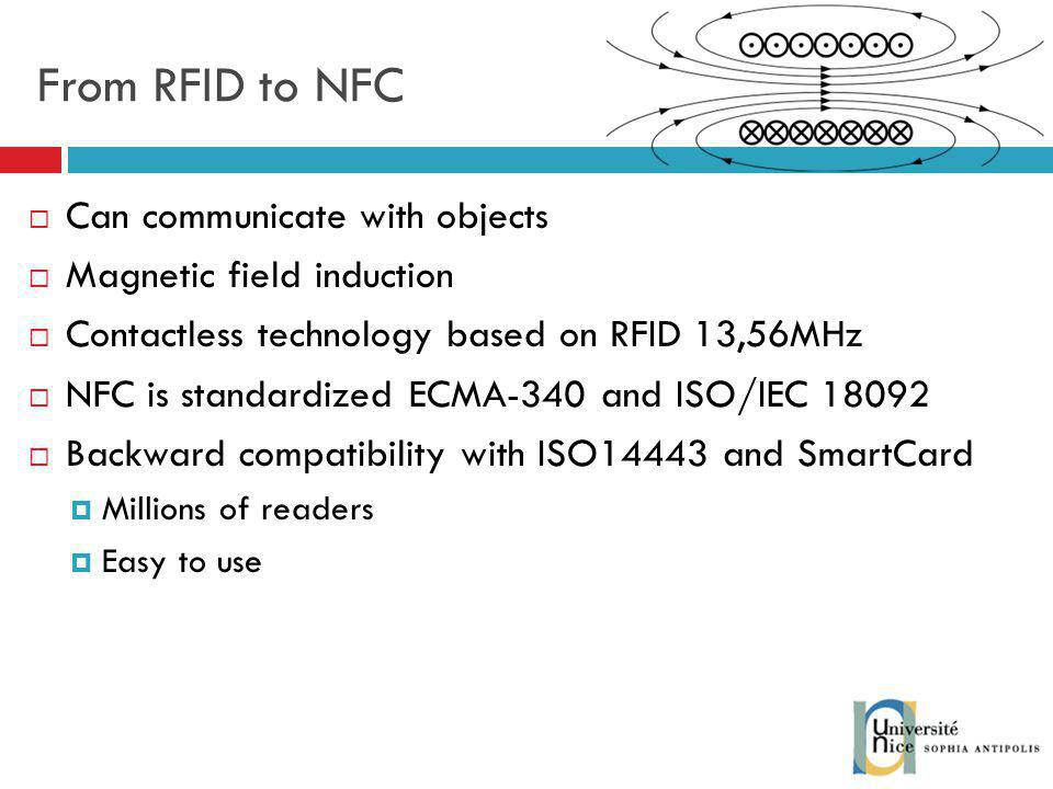 From RFID to NFC Can communicate with objects Magnetic field induction