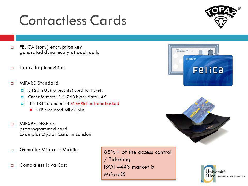Contactless Cards 85%+ of the access control / Ticketing