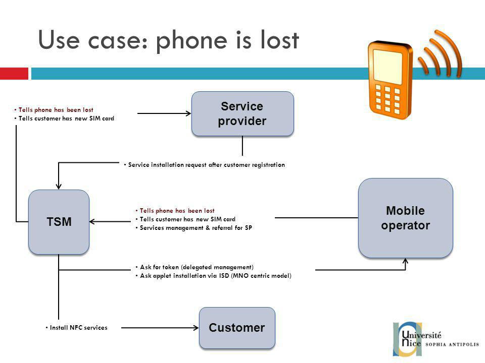 Use case: phone is lost Service provider Mobile operator TSM Customer